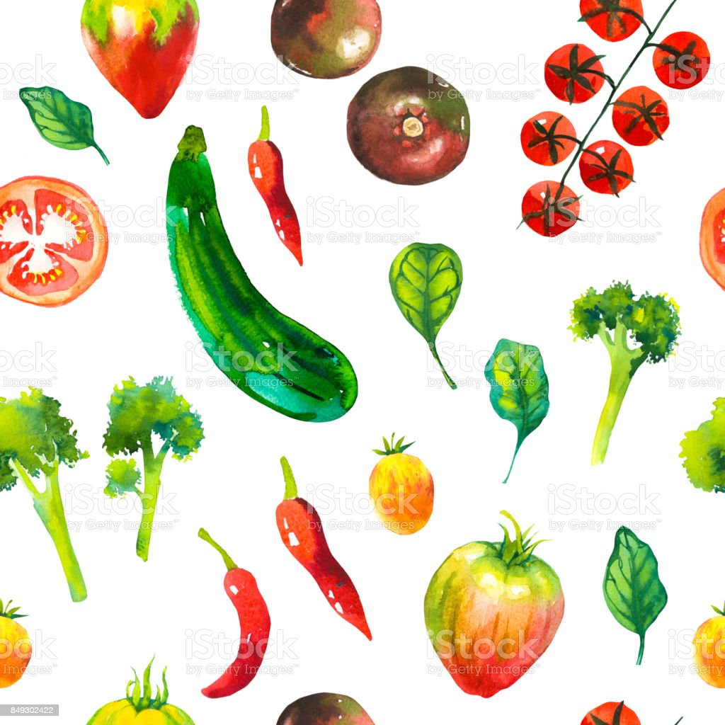 Watercolor illustration with composition of farm grown illustrations. Seamless pattern on white background. Vegetables set: potatoes, turnips, tomato, cucumber, root, onion. Fresh organic food vector art illustration