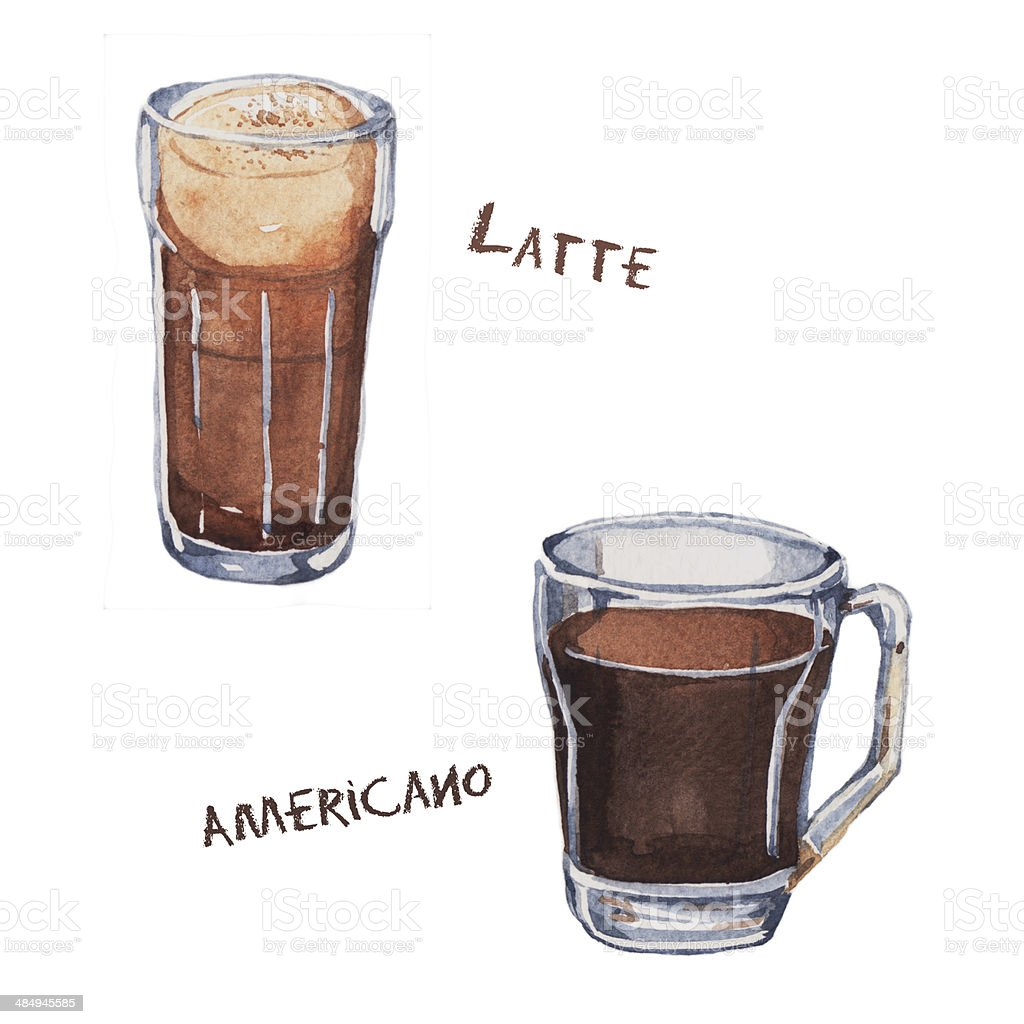 Watercolor illustrations of coffee cup vector art illustration