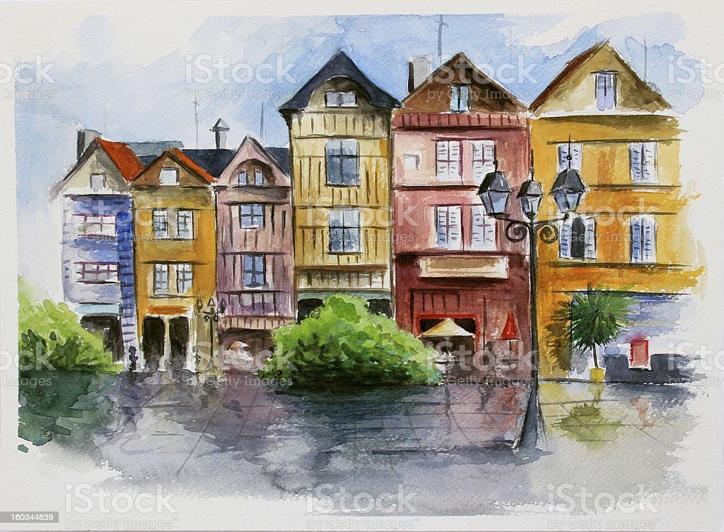 watercolor in town royalty-free stock vector art