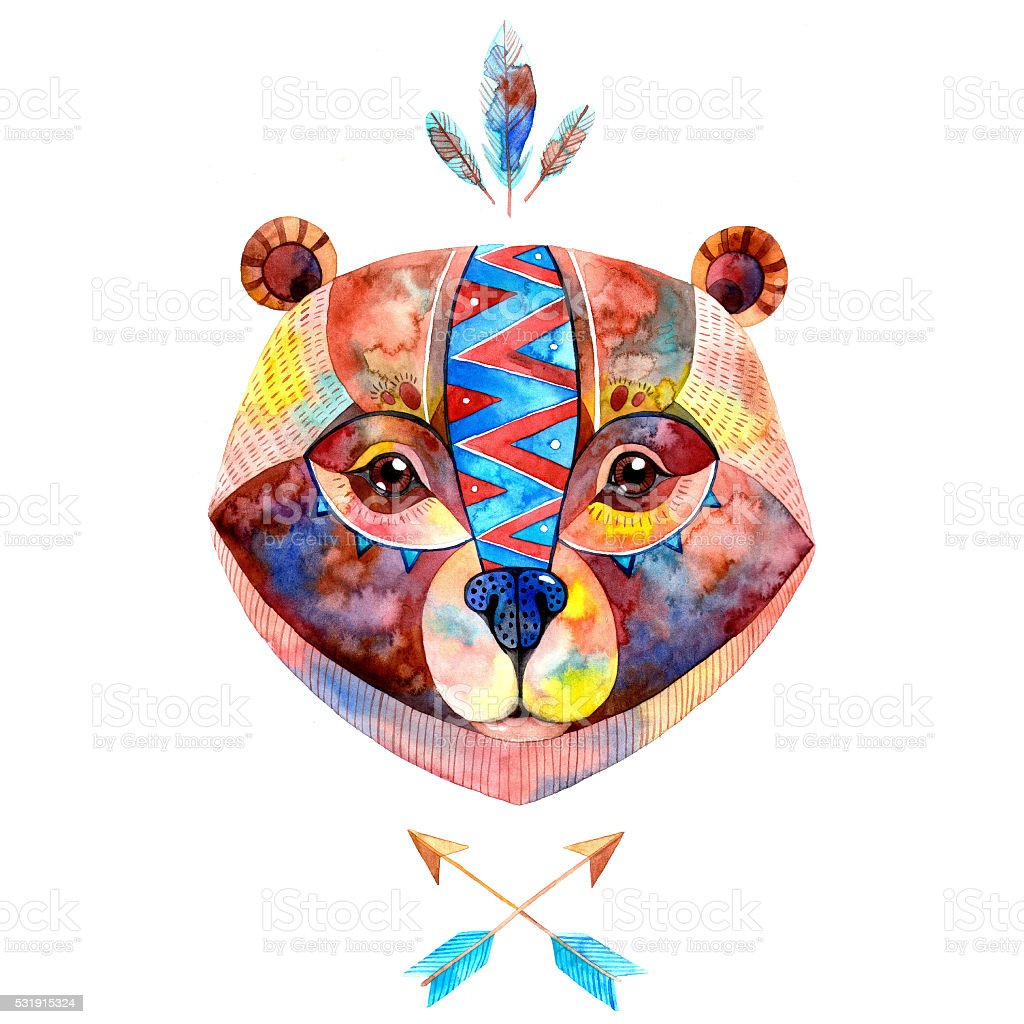 Watercolor Indian bear. vector art illustration