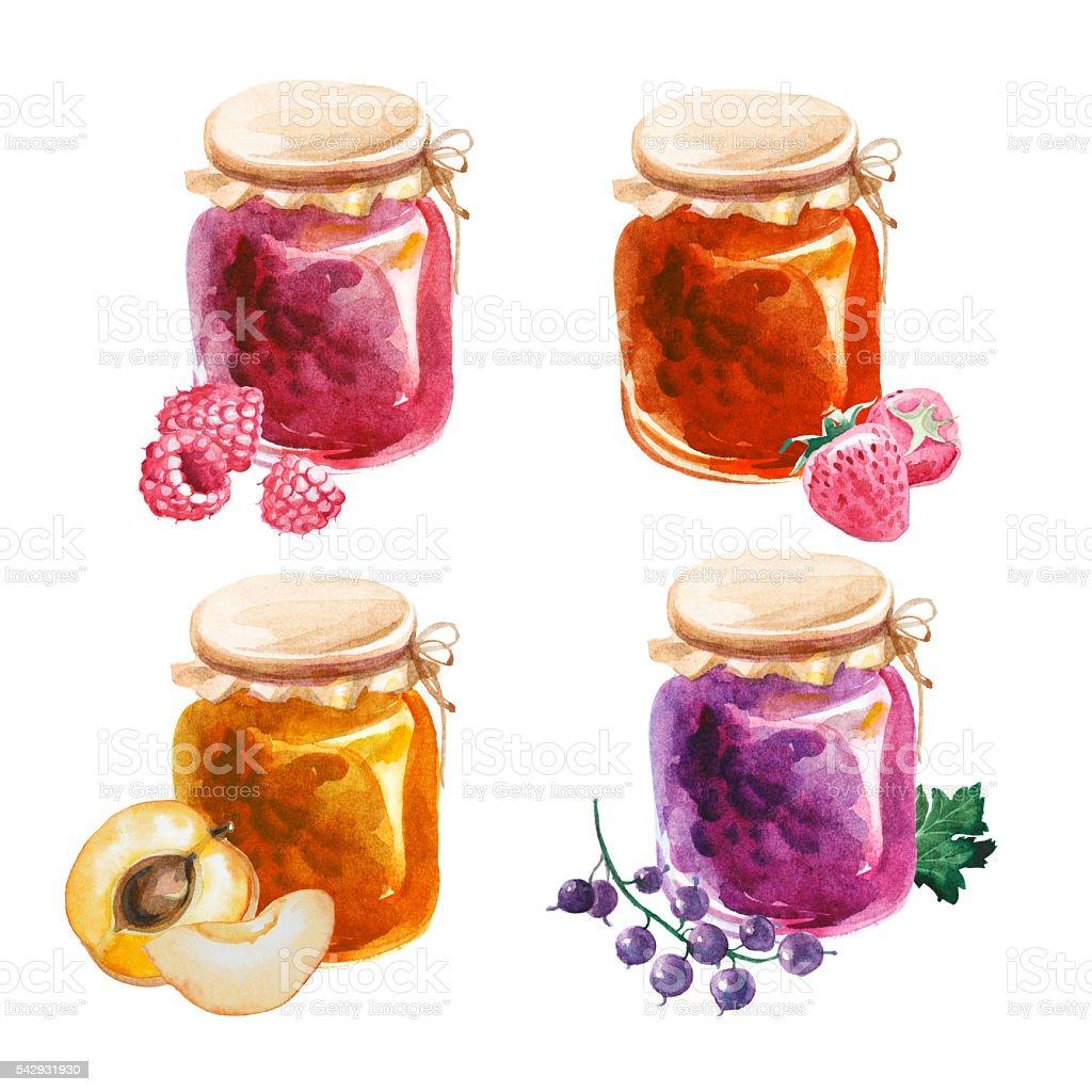 watercolor jam-jars isolated on white background vector art illustration
