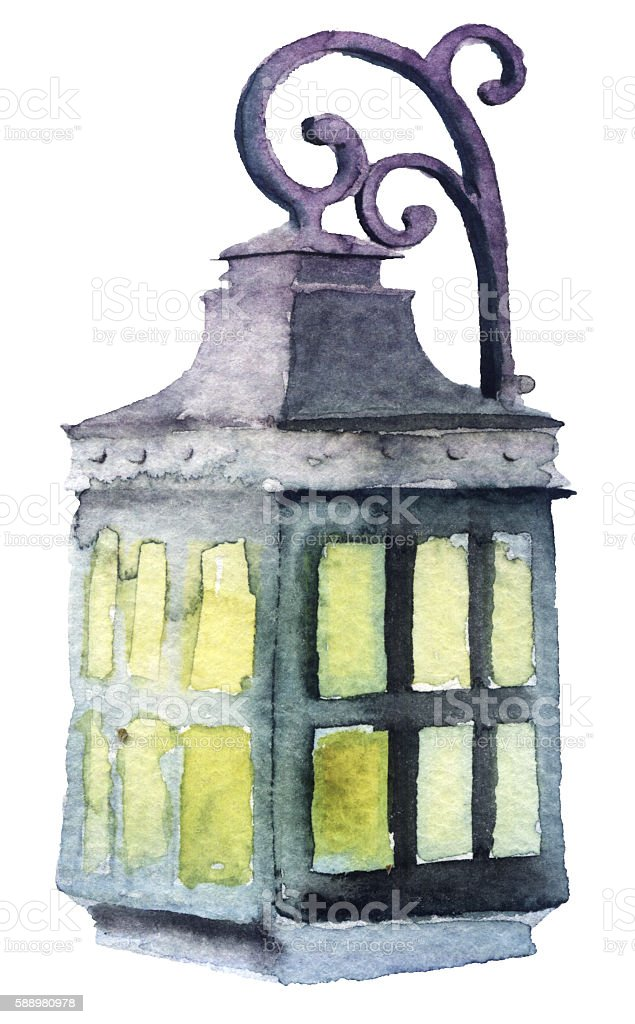 watercolor lamp on white background vector art illustration