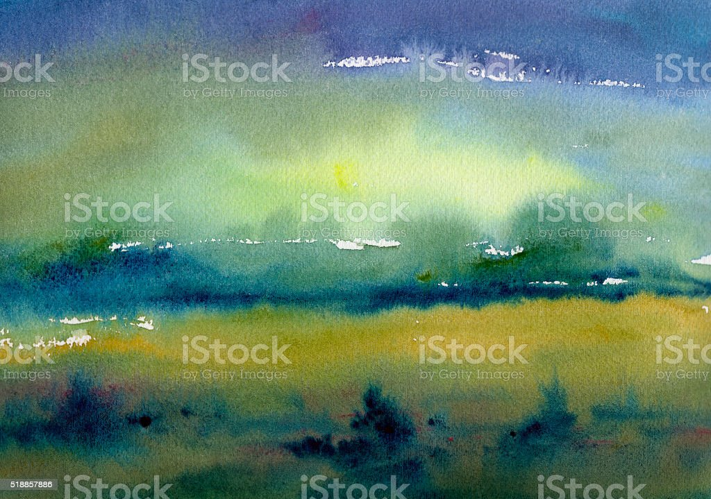 watercolor landscape background painting stock photo