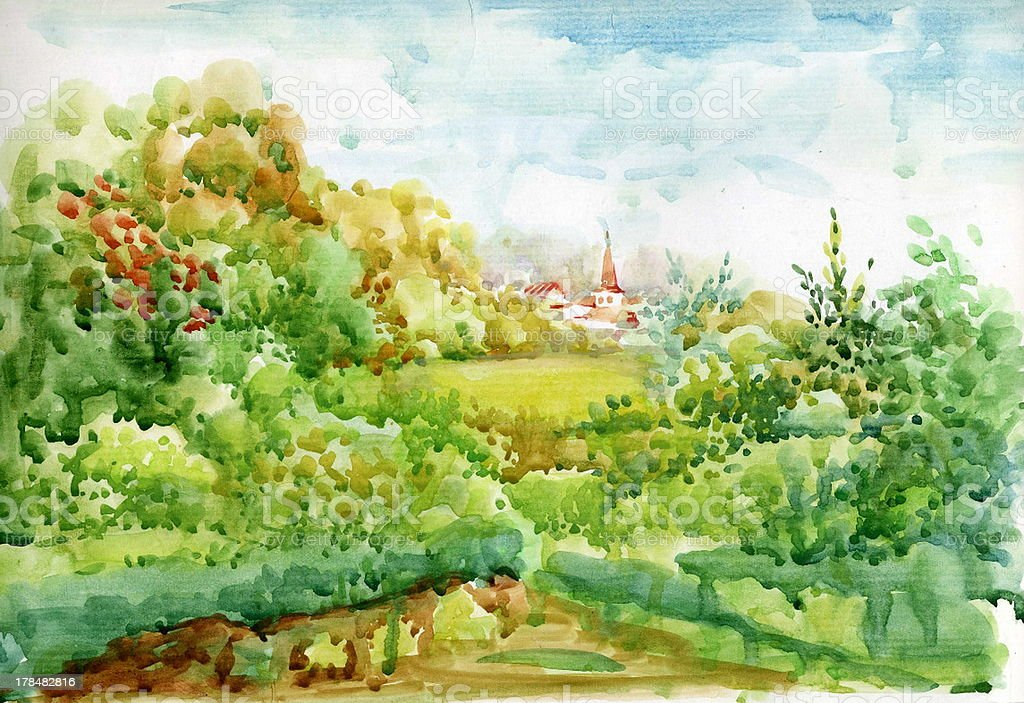 Watercolor Landscape Collection: Village Life royalty-free stock vector art