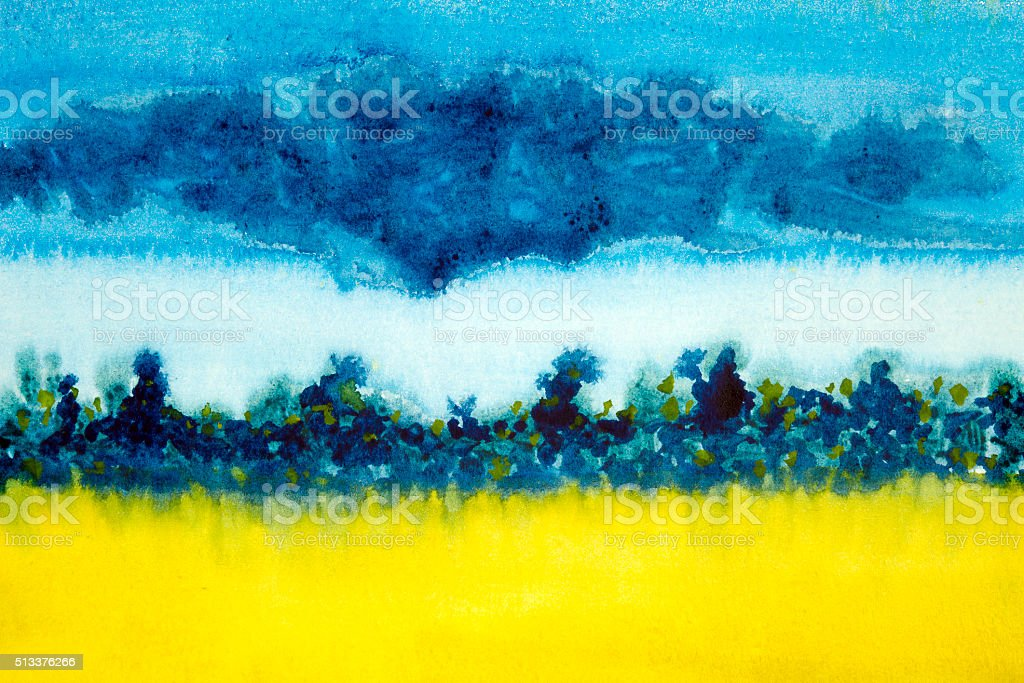 watercolor landscape  field blue and yellow vector art illustration