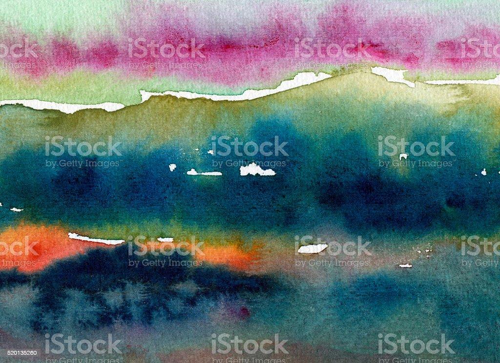 watercolor landscape painting vector art illustration