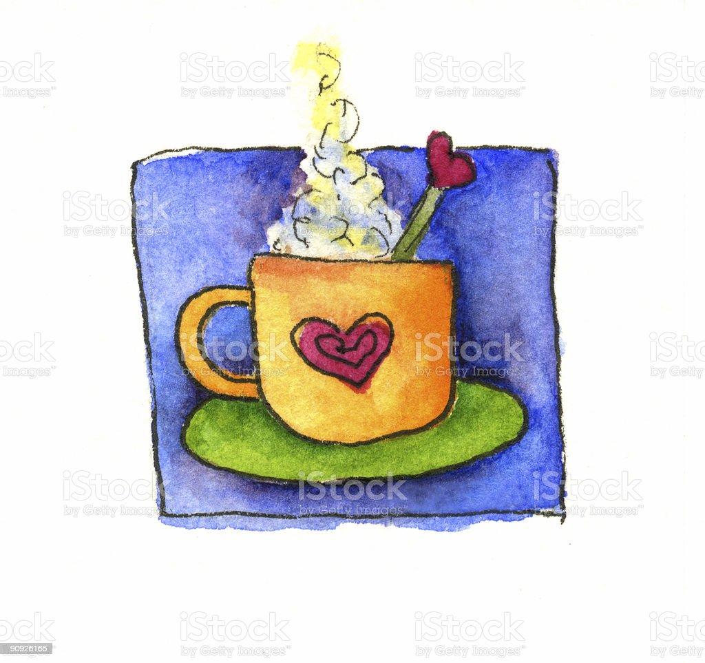 Watercolor Latte royalty-free stock vector art