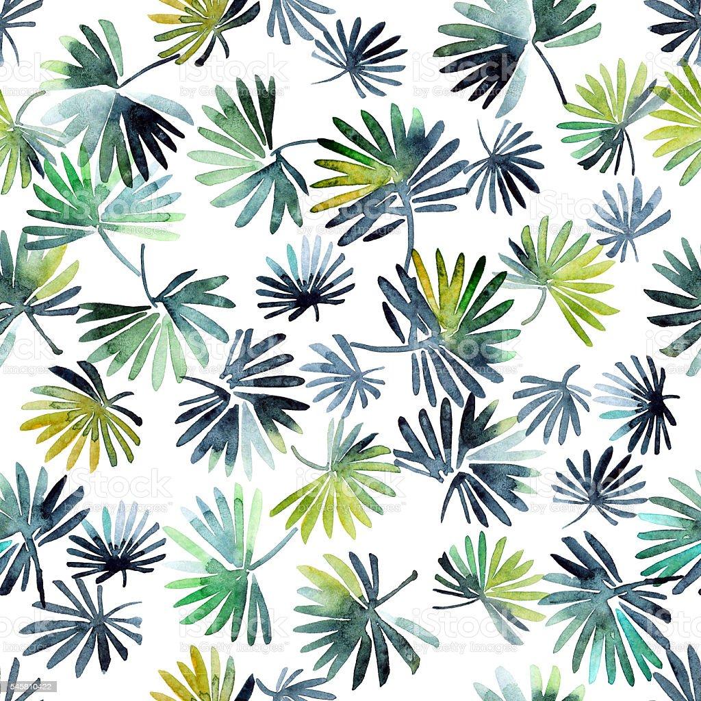 Watercolor leaves pattern vector art illustration