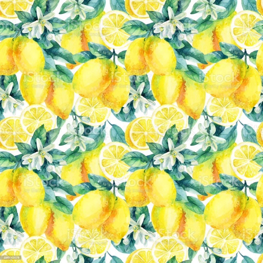 Watercolor lemon fruit branch with leaves seamless pattern vector art illustration