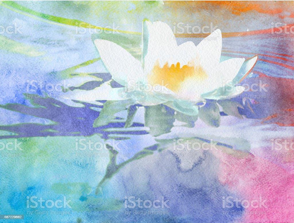 watercolor lotus vector art illustration