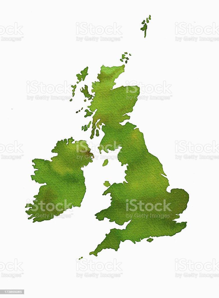 UK watercolor map royalty-free stock vector art