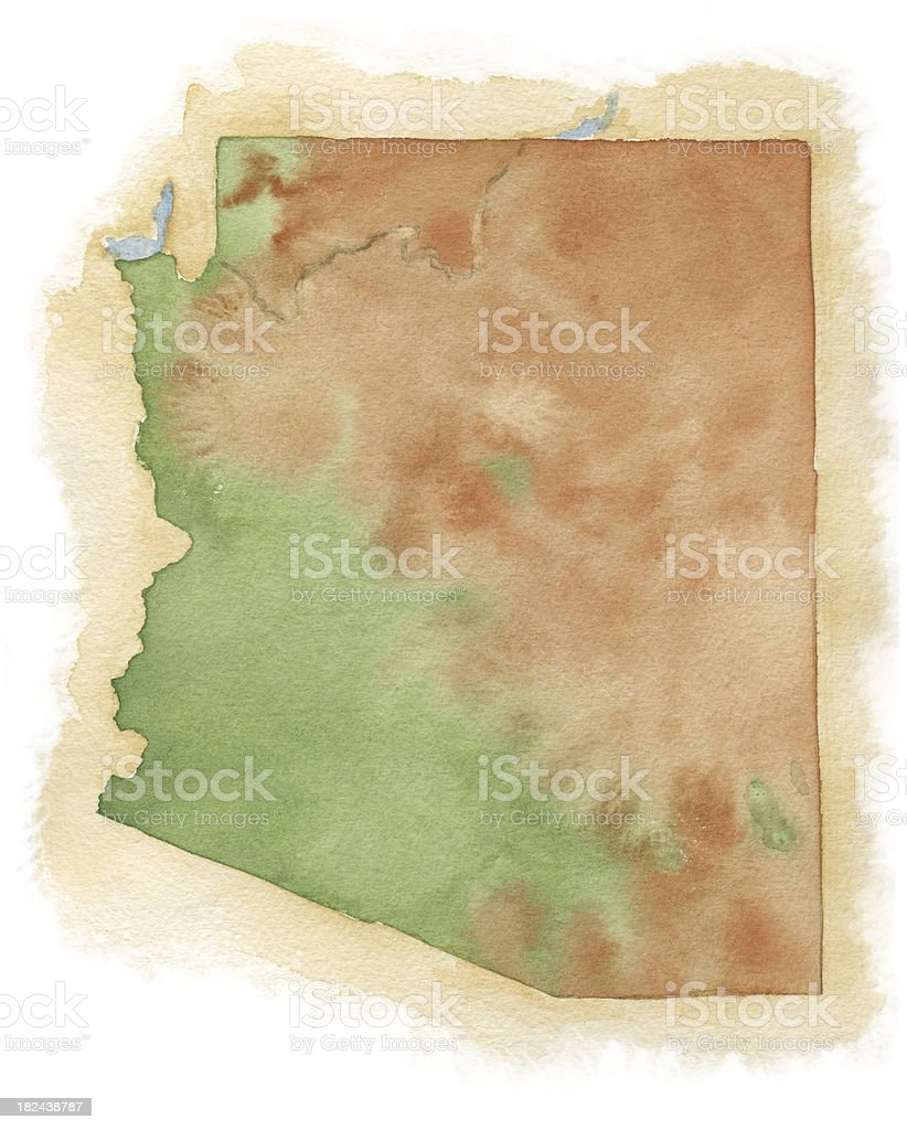 Watercolor Map of Arizona royalty-free stock vector art