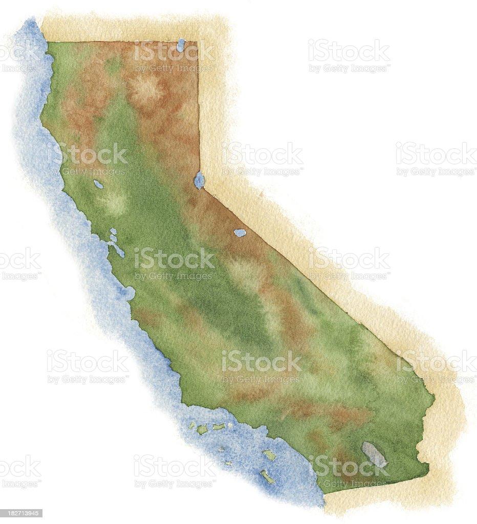 Watercolor Map of California vector art illustration