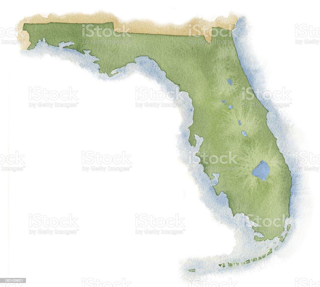 Watercolor Map of Florida royalty-free stock vector art