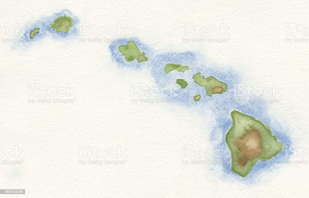 Watercolor Map of Hawaii vector art illustration
