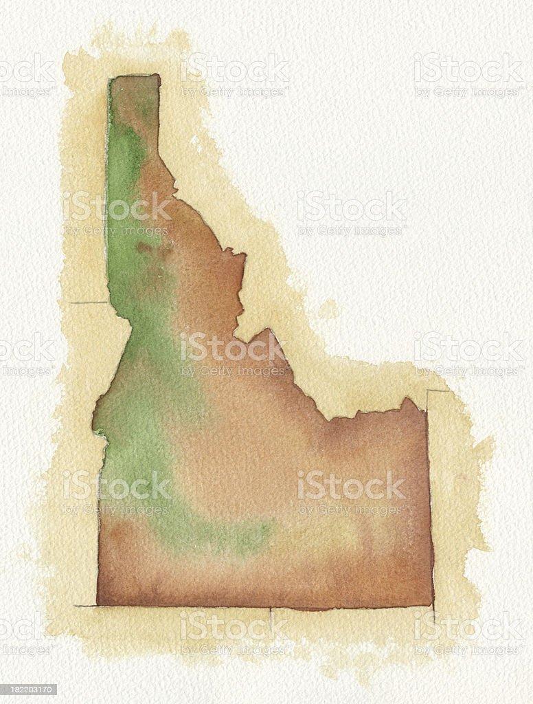 Watercolor Map of Idaho vector art illustration