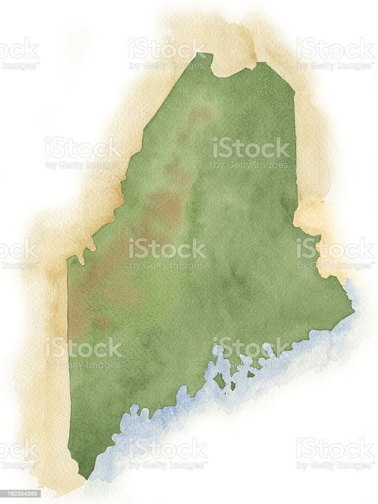 Watercolor Map of Maine vector art illustration