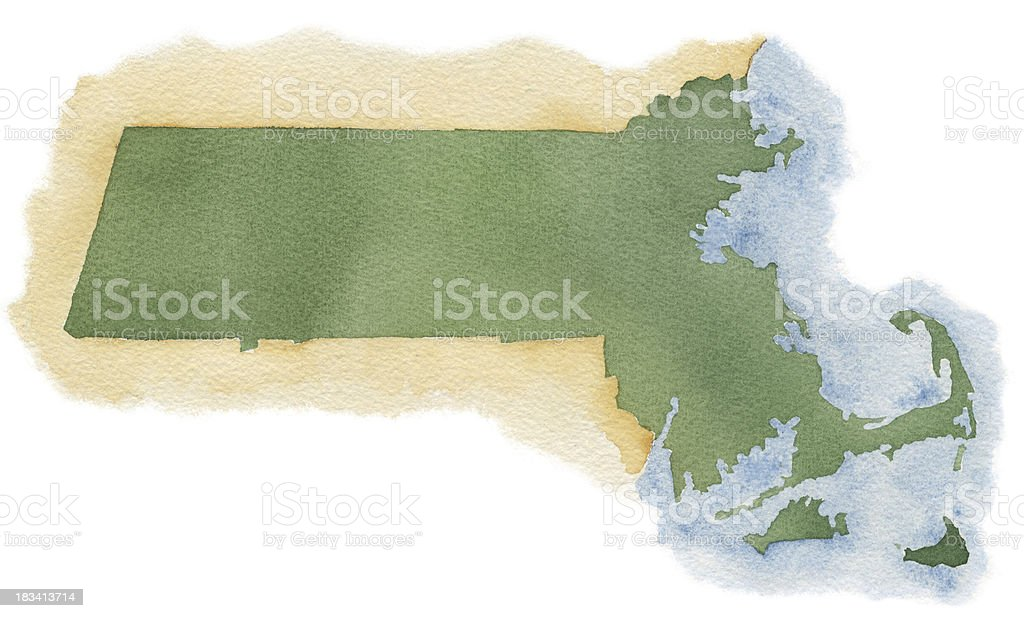 Watercolor Map of Massacusetts royalty-free stock vector art