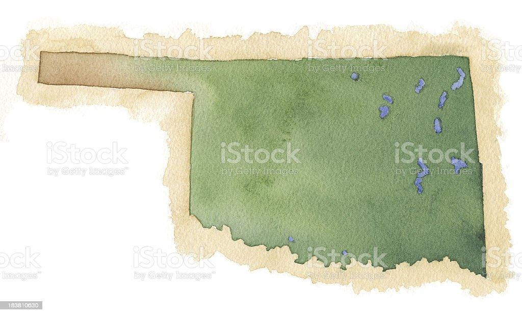 Watercolor Map of OKlahoma vector art illustration