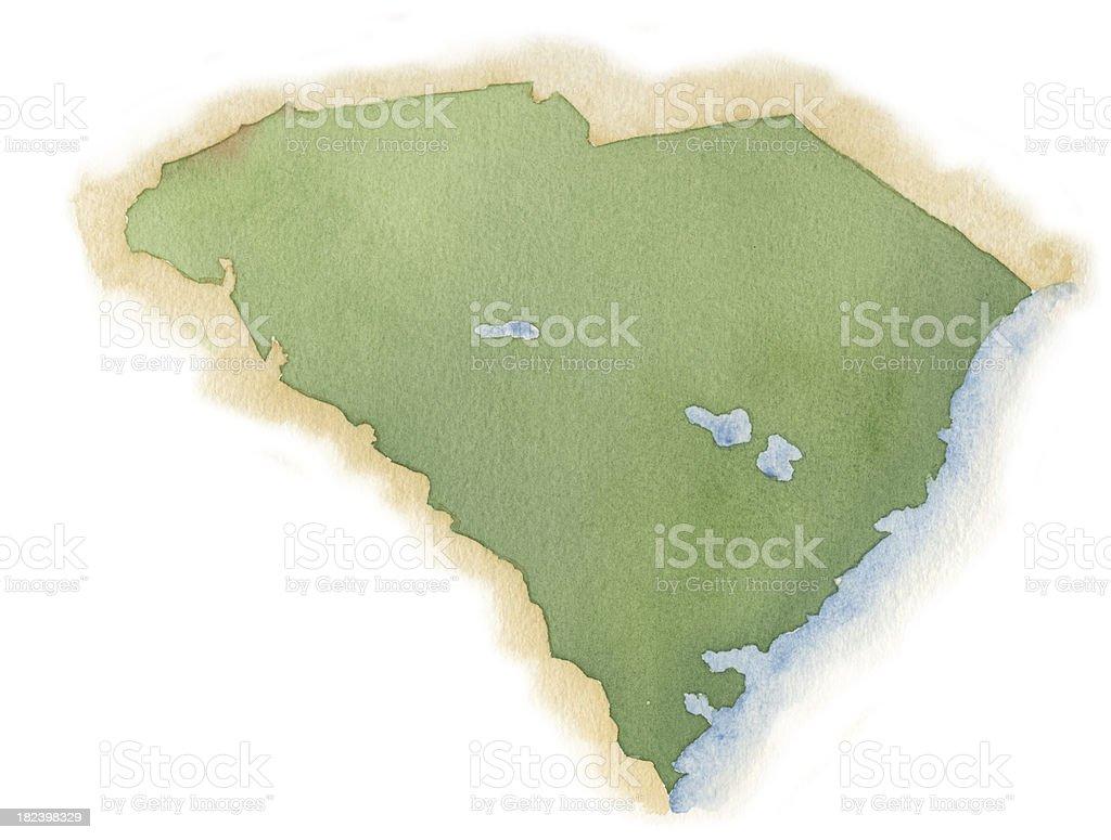 Watercolor Map of South Carolina royalty-free stock vector art