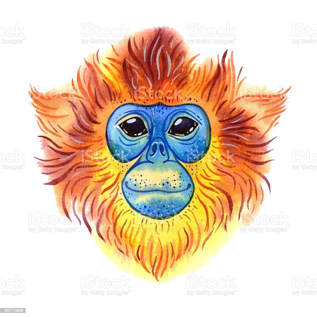 Watercolor monkey vector art illustration