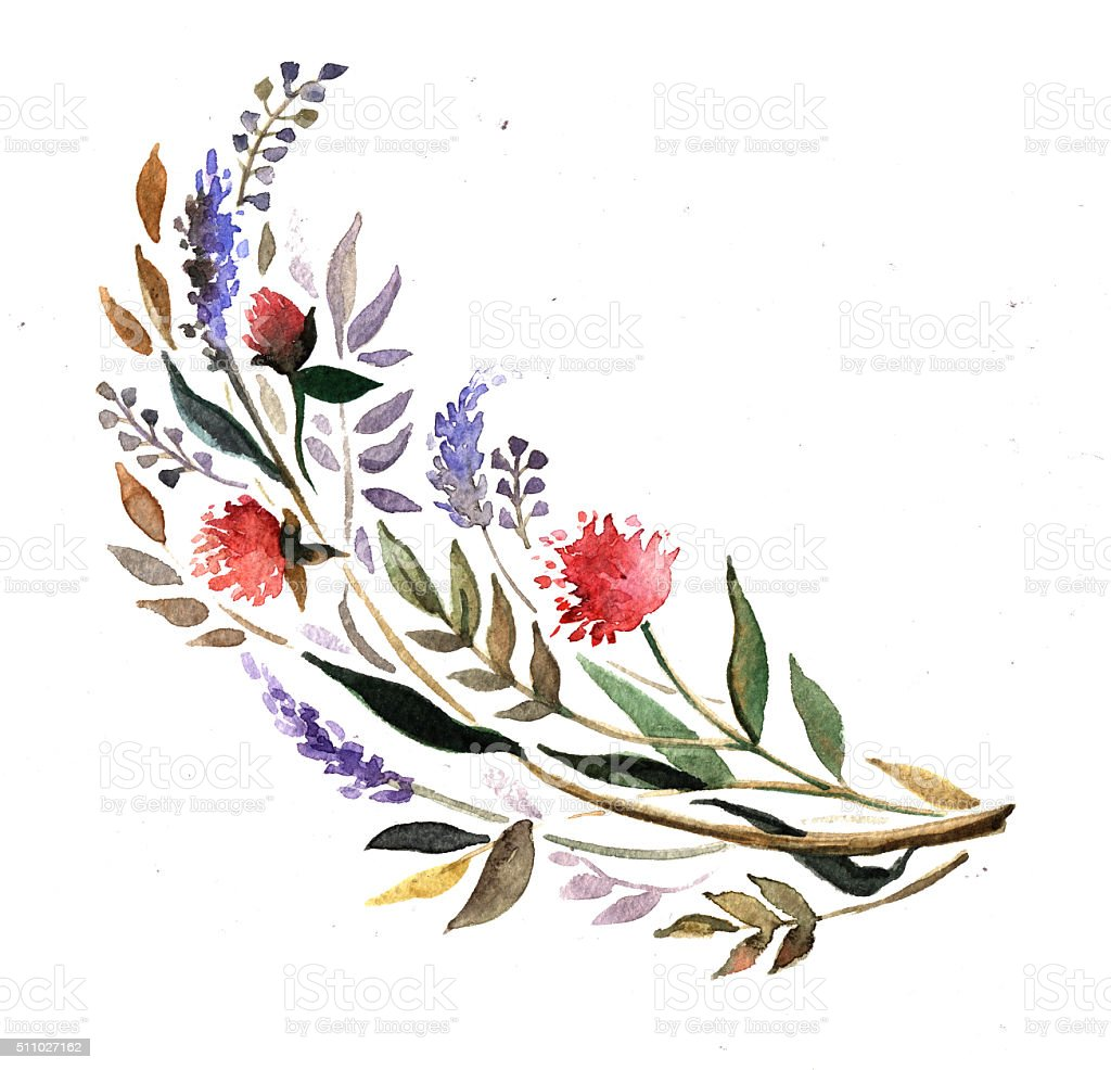 Watercolor motif with flowers and herbs stock photo