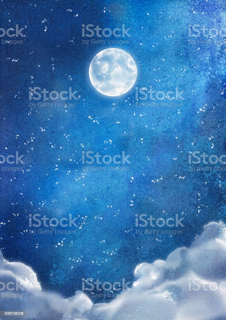 Watercolor Nightly Clouds vector art illustration