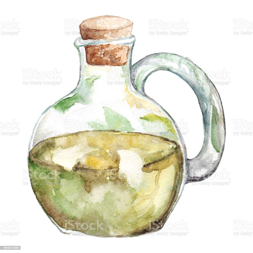 Watercolor oliva olive oil glass bottle isolated vector art illustration