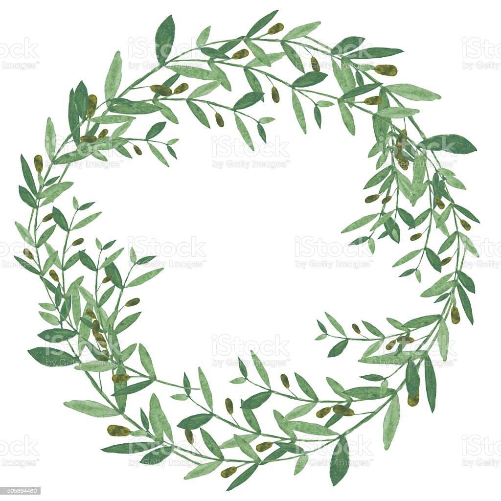 Watercolor olive wreath. vector art illustration