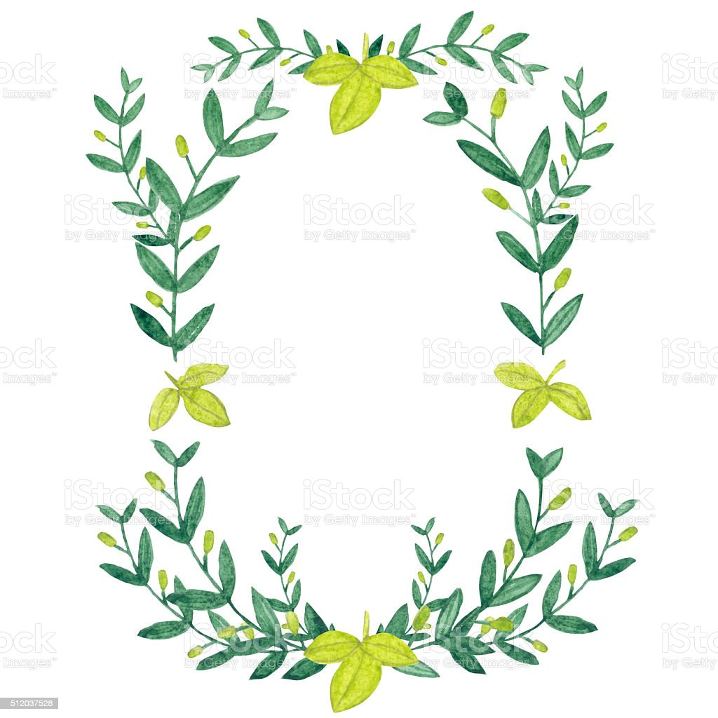 Watercolor olive wreath. Isolated illustration on white backgrou vector art illustration
