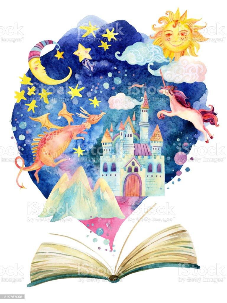 Watercolor open book with magic cloud. vector art illustration