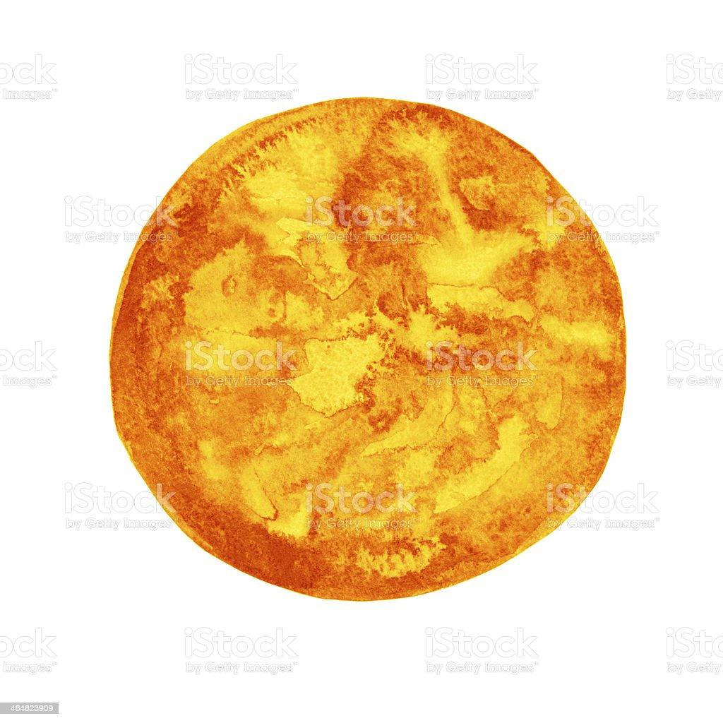 Watercolor orange round spot royalty-free stock vector art