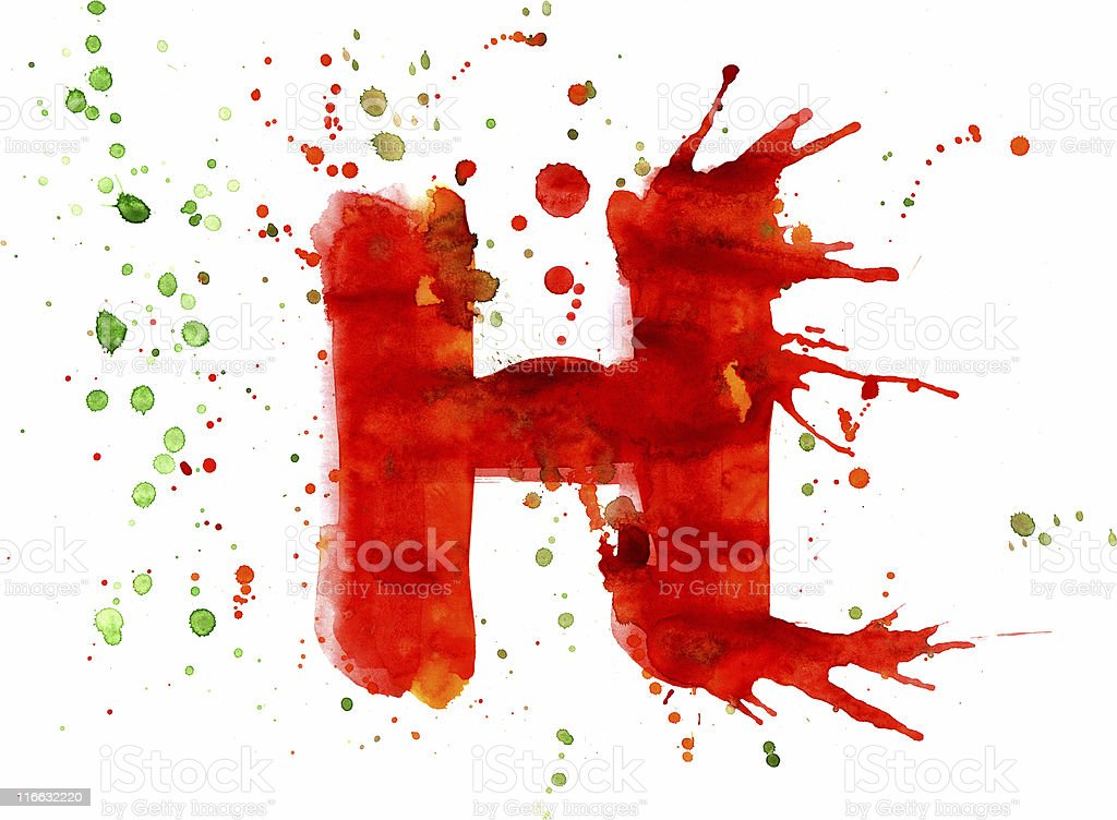 Watercolor paint - letter H royalty-free stock vector art