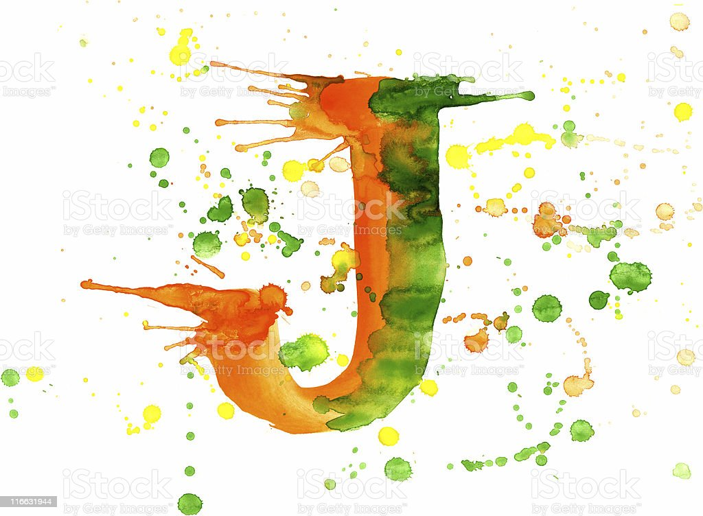 Watercolor paint - letter J royalty-free stock vector art