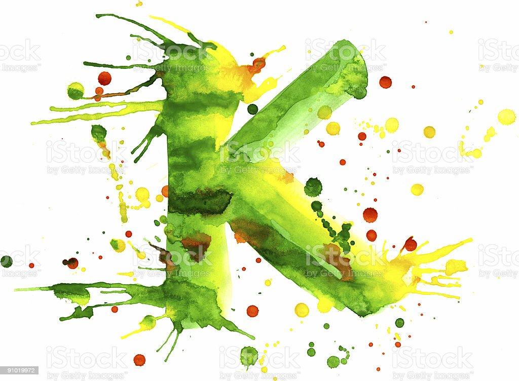 Watercolor paint - letter K vector art illustration