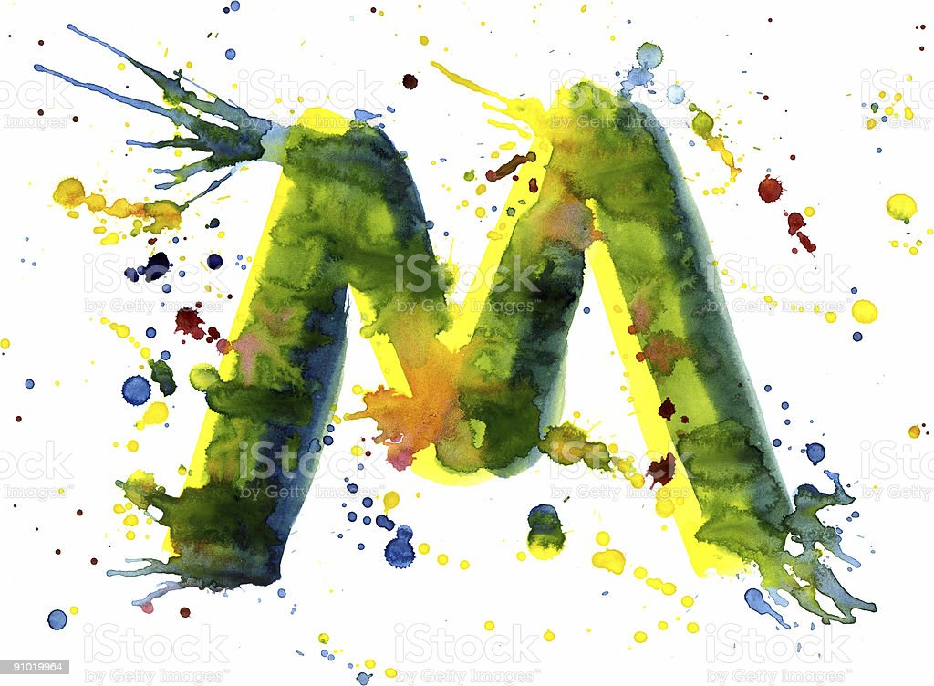 Watercolor paint - letter M royalty-free stock vector art