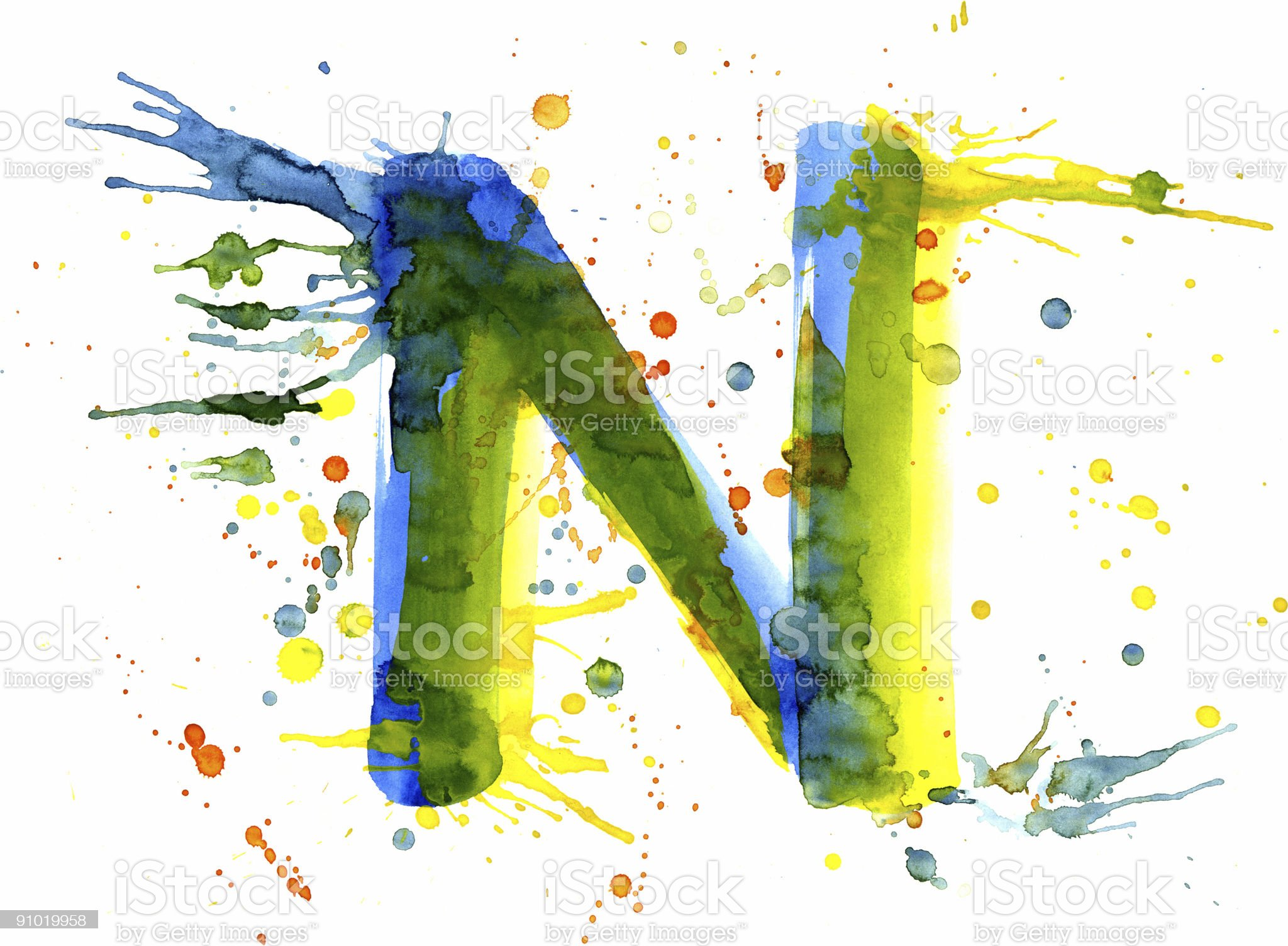 Watercolor paint - letter N royalty-free stock vector art