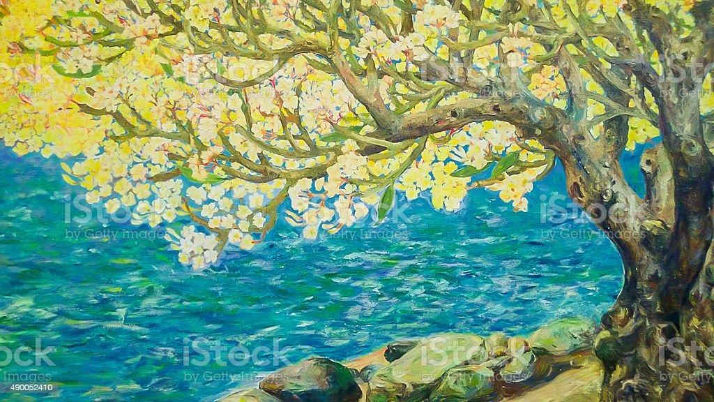 Watercolor paint of yellow tree vector art illustration