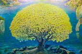 Watercolor paint of yellow tree