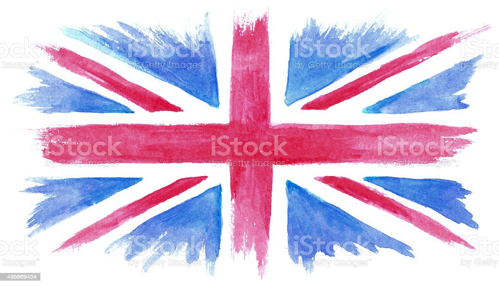 Watercolor painted flag of Great Britain vector art illustration