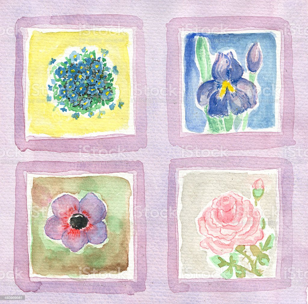 Watercolor painted flowers in four windows vector art illustration
