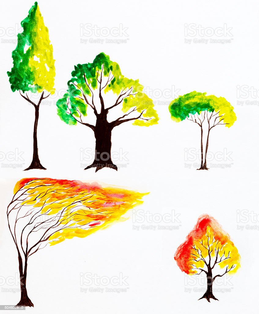 Watercolor Painted Tree vector art illustration