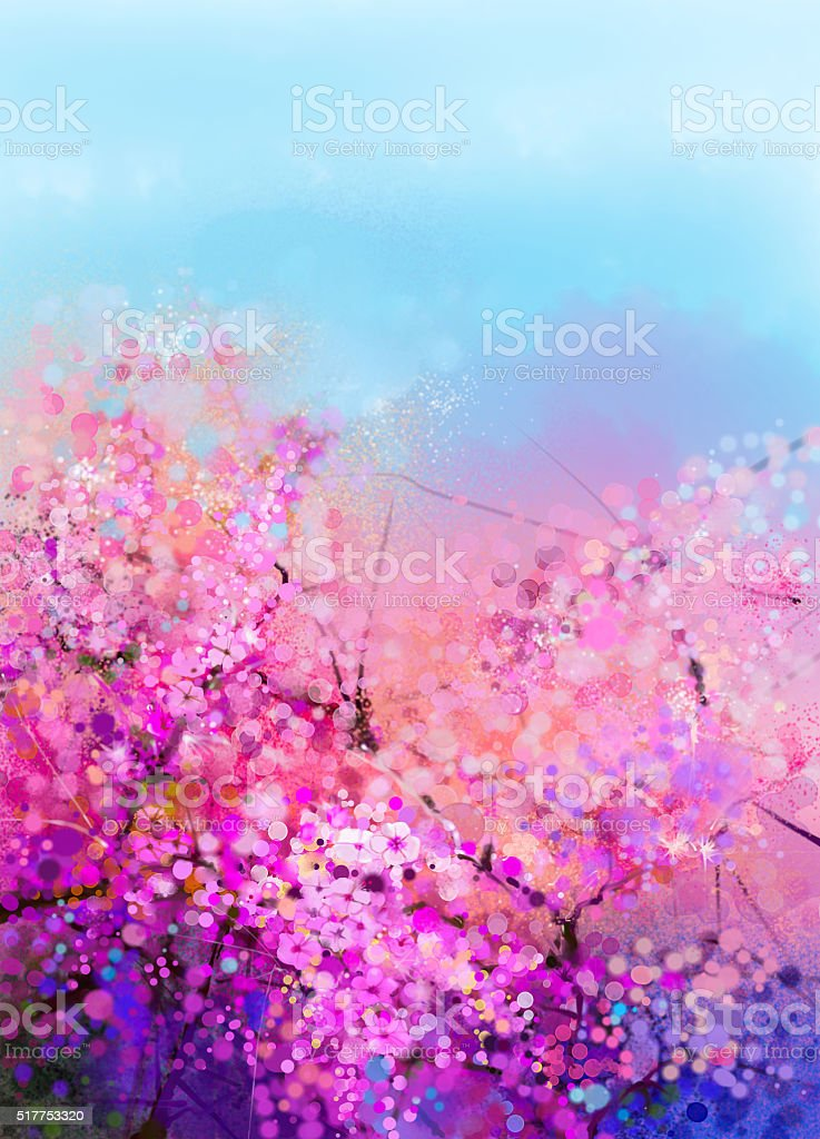 Watercolor painting Cherry blossoms vector art illustration