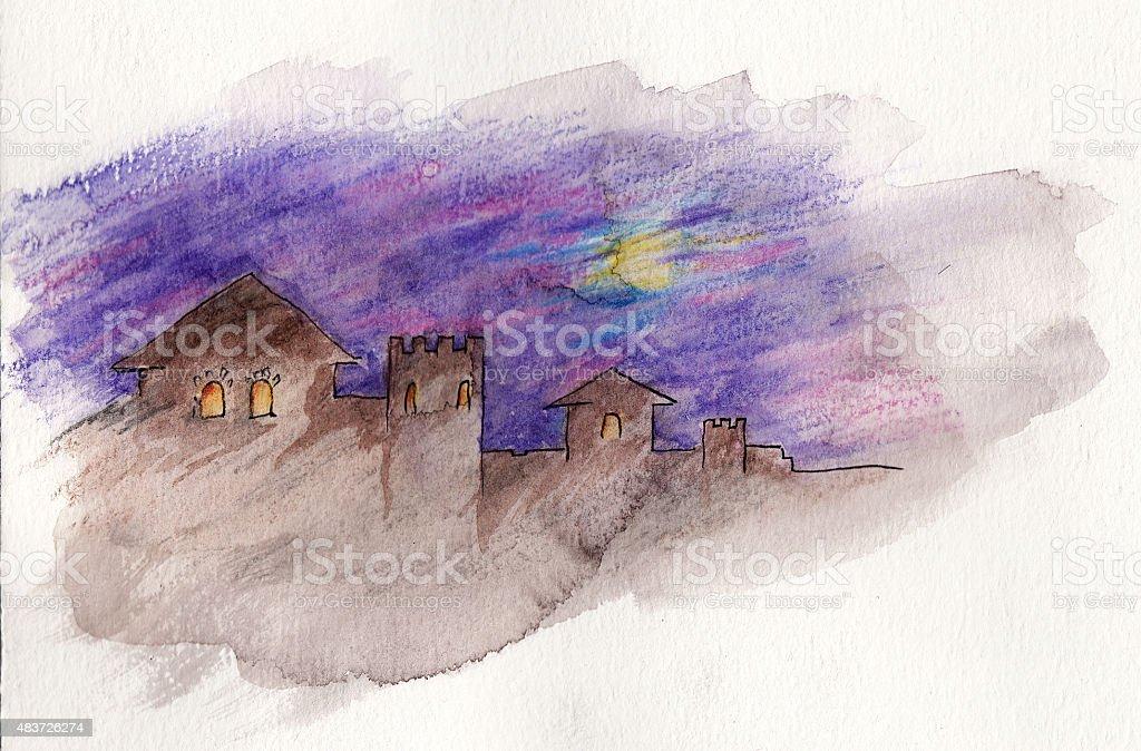 Watercolor painting vector art illustration