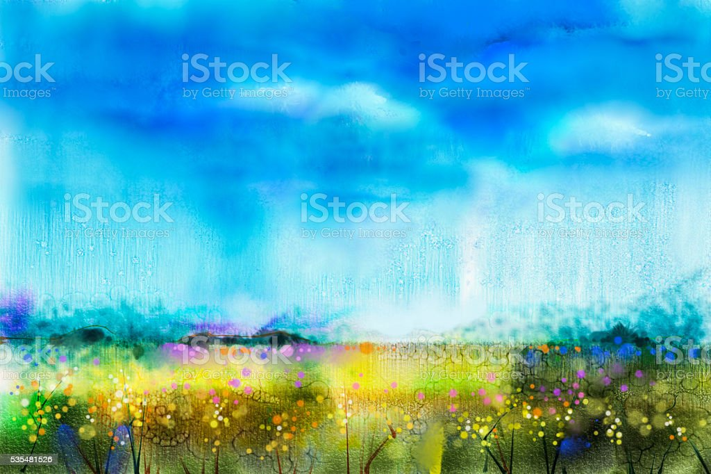 Watercolor painting landscape, wildflower and blue sky vector art illustration