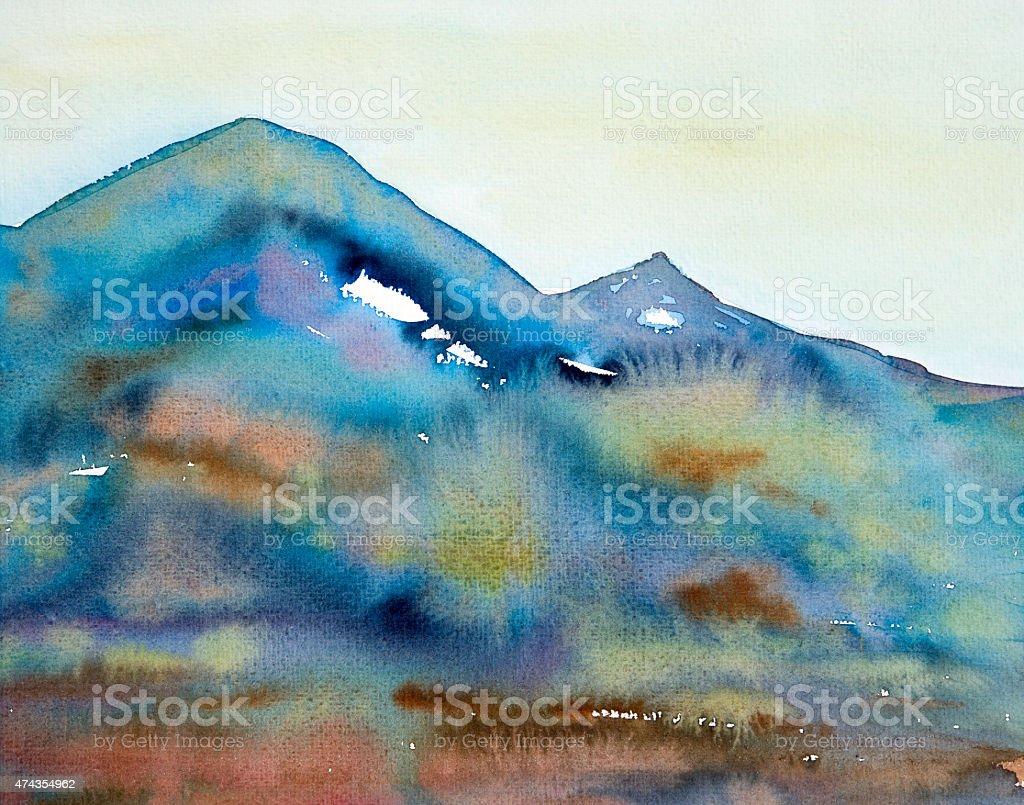 watercolor painting mountain vector art illustration