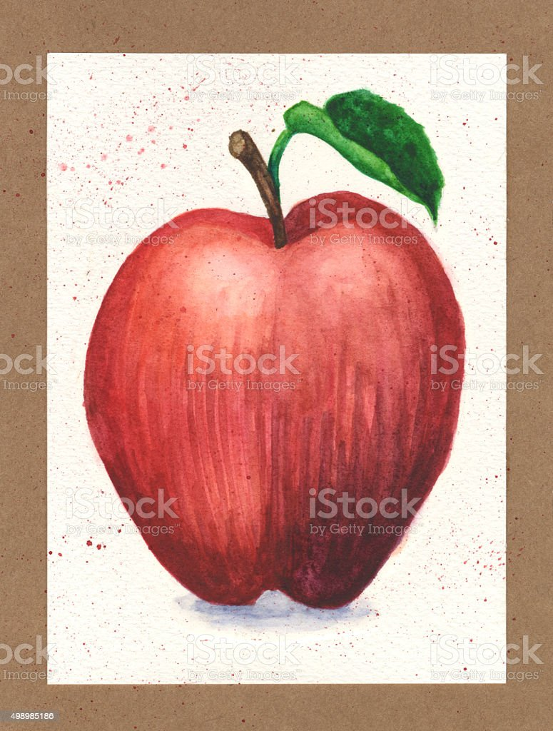 Watercolor Painting of a Red Delicious Apple on Paper Background vector art illustration