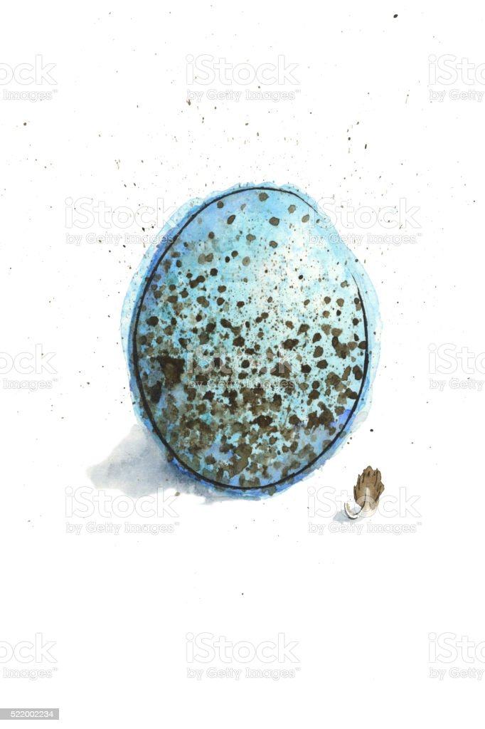 Watercolor Painting of a Song Sparrow Egg. Raster Illustration. vector art illustration