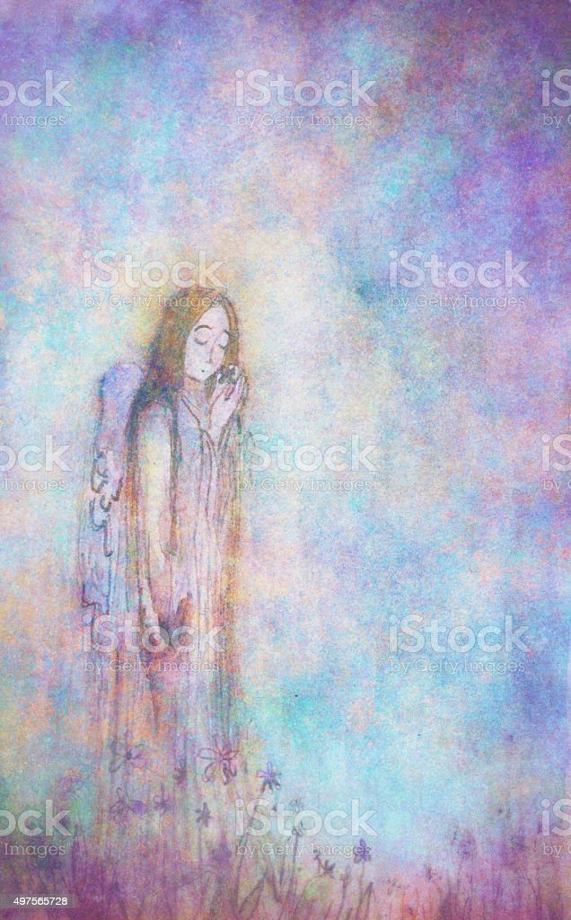 Watercolor painting of an angel. vector art illustration