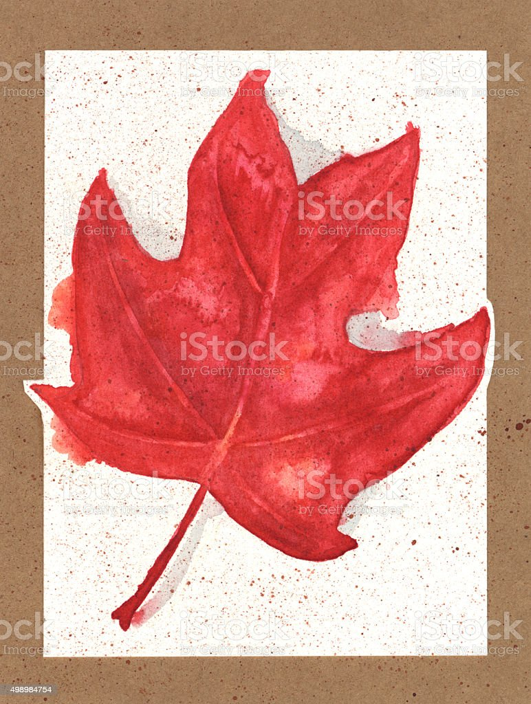 Watercolor Painting of an Autumn Leaf on Textured Paper Background vector art illustration